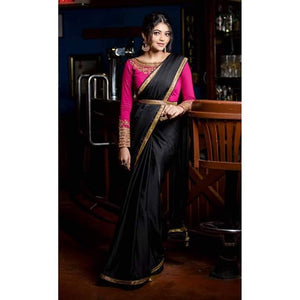 Black Malai Silk Saree