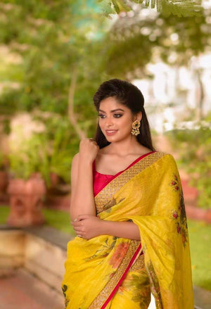 Yellow Floral Pure Linen Saree