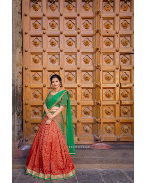 Green and Orange Half Saree