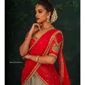 Red and Grey  Half Saree