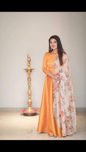 Mustard anarkali with Offwhite Pure Organza Floral Duppata.