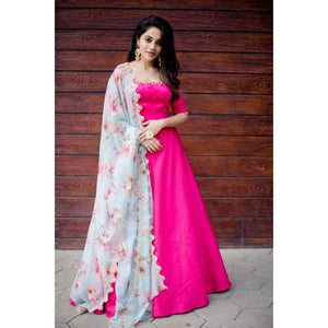 Hot Pink Anarkali with Turquoise green  Organza Duppata