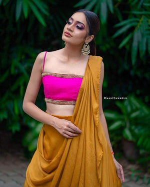 Pink and mustard drape set