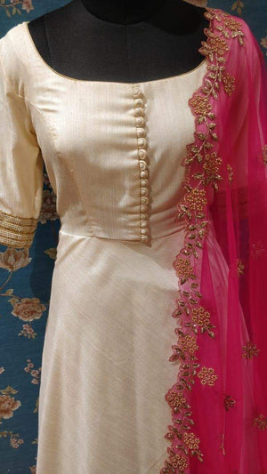 Offwhite and pink annarkali