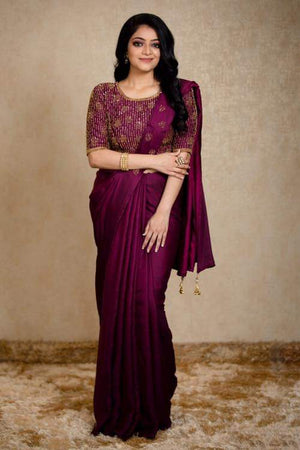 Wine Malai silk saree