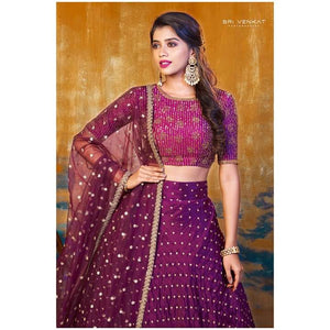 Wine bridal lehanga set