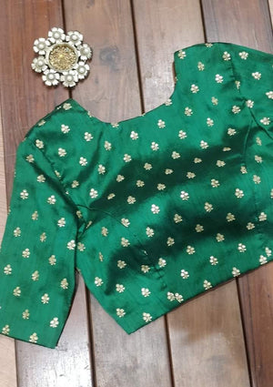 Green embellished blouse with elbow sleeves