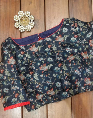 Pure organza navy blue floral  blouse