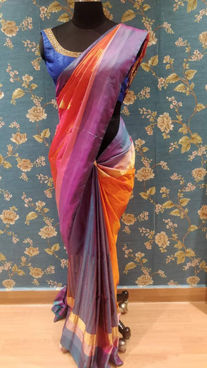 Peach soft kanchee silk saree