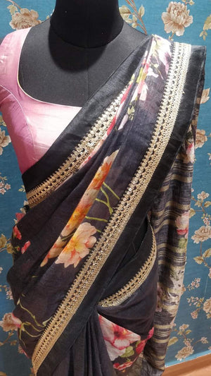 Black pure linen floral saree