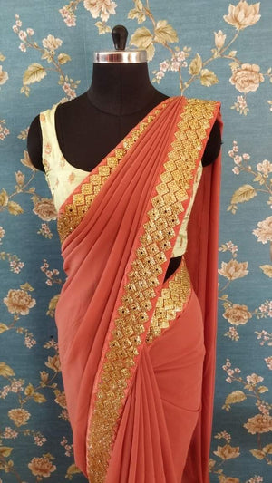 Mauve Georgette saree