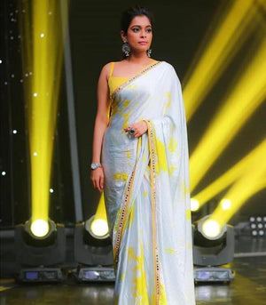 Shibori Grey and yellow crepe saree