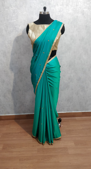 Sea green malai silk saree