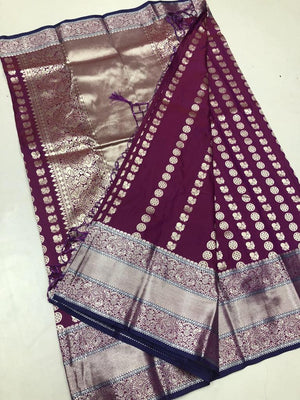 Wine Soft Silk Saree