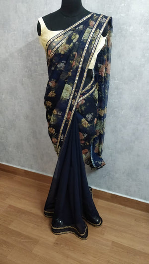Blue Organza  Half and half saree