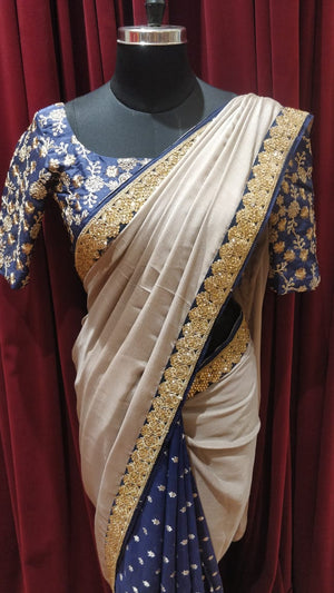 Grey and Blue Half and Half saree