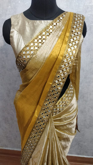 Silverish Gold Tissue Saree