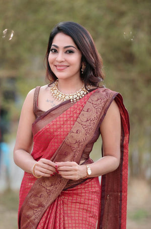 Brick Red  soft kora silk saree