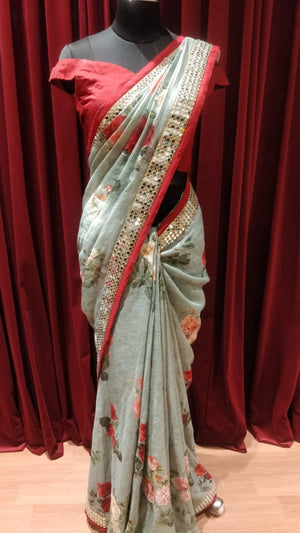 Pastel Green Pure  Linen Floral Saree