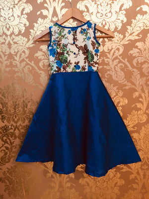 FLORAL BODICE WITH  RAW SILK BOTTOM FLOOR LENGTH DRESS