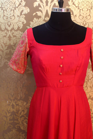 Pink Long dress Brocade Sleeves