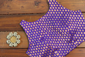 Purple Sleeveless Brocade Blouse