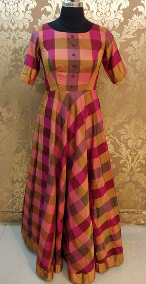 Purple Checks Silk Maxi