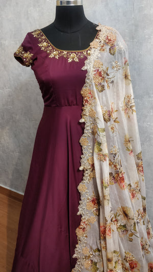 Wine embroidered long dress with pure organza floral duppata
