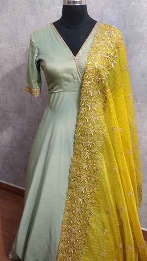 Pastel Green Long Dress with Heavy Yellow Duppata