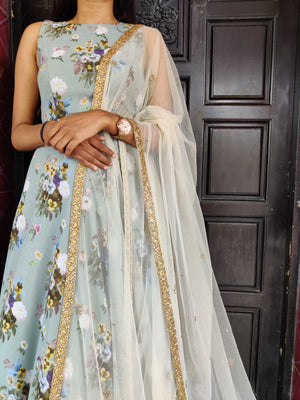 Grey Floral Annarkali with Embroidered Duppata