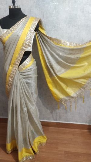 Silver and Yellow Tissue Saree