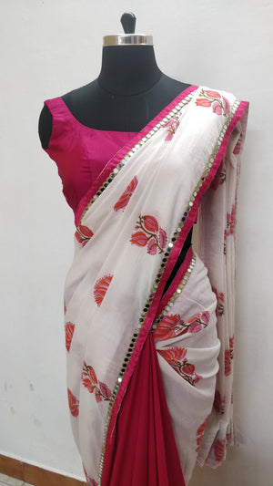 Pink and White  Half and Half saree