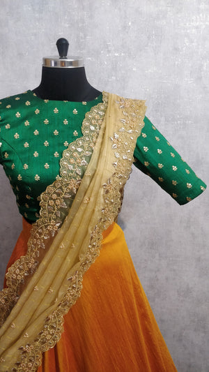 Green and Mustard Lehanga Set