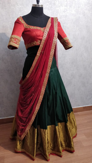 Maroon and Bottle Green Traditional Lehanga Set