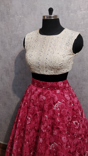 silver croptop and reddish pink skirt set