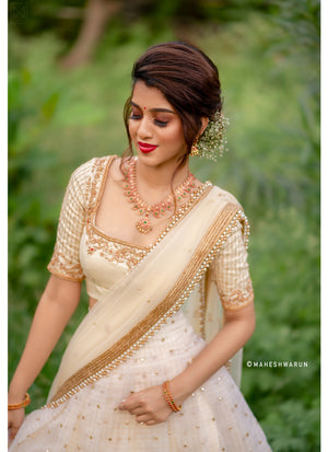 Off-white traditional half saree