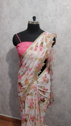 White and Pink Pure organza saree