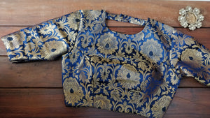 Blue Brocade Croptop