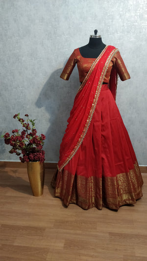 Red Traditional Half Saree