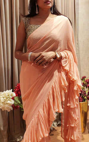 Peach ruffle saree