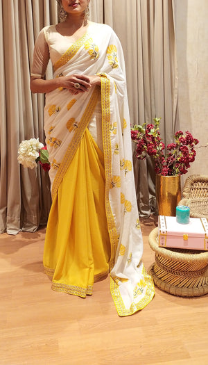 White and Yellow Mulmul Cotton Half and Half saree