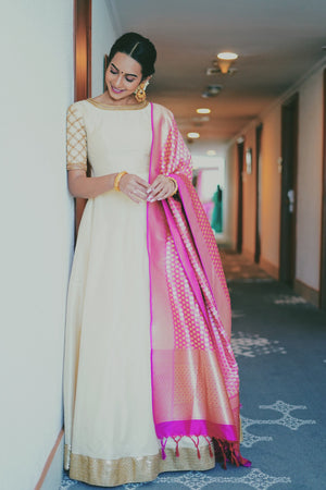 Off white Long dress with dupatta