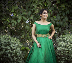 Emerald green raw silk off shoulder gown