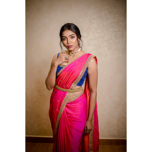 PINK MALAI SILK SAREE
