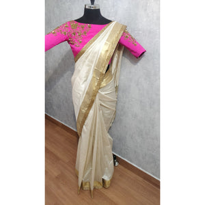 Offwhite Saree with Bead border