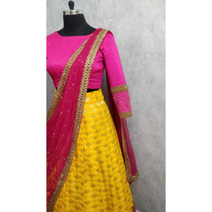 Yellow and Pink Traditional Half Saree