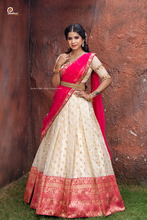 Cream and Pink Banaras Silk Half saree