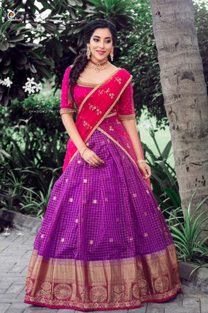 Pink and Purple checked Traditional Half Saree