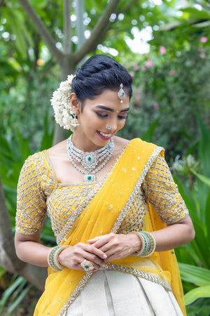 Mustard and Silver Traditional Half Saree