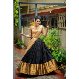 Black and Gold Traditional Half Saree